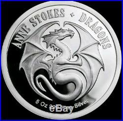 5 Oz. 999 Pure Silver Proof Skull Embrace Anne Stokes Round Coin Dragon Bullion