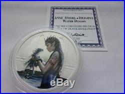 5 Oz Silver Coin Anne Stokes Dragons Colorized Water Dragon 4th In Series # Coa