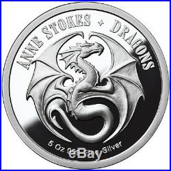 5 Oz Silver Coin Anne Stokes Dragons Proof Water Dragon 4th In Series 500 Minted