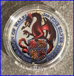 5 Queens Beasts 2 oz of Colour Silver Coin Lion, Griffin, Dragon, Unicorn, Bull