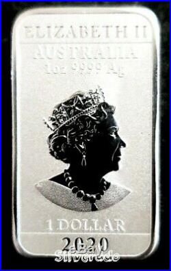 5 X 2020 Dragon 1 oz Silver Rectangle Bullion Coin Bar Perth Mint 99.99% Ag