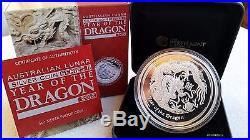 5 oz DRAGON PROOF 2012 LUNAR SILVER COIN BOX COA