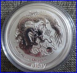 5 oz Lunar II silver coin 2012 Year of the Dragon very rare