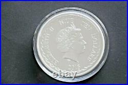 5 oz Silbermünze 2018, 10 $ Niue Double Dragon in Kapsel, 999er, ST, 155,5gr