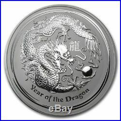 5 x 2 troy oz Perth Mint. 999 Silver Lunar Dragon Bullion Coin 2012 SEALED ROLL