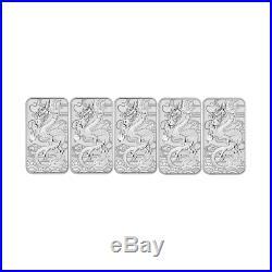 5 x 2018 $1 Dragon 1oz Silver Bullion coin (no capsule)