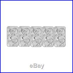 5 x 2019 $1 Dragon 1oz Silver Bullion coin (no capsule)