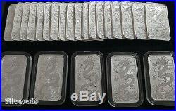 5X 2018 Dragon coin Bullion Perth Mint Rectangle Acrylic Capsule 1oz Silver 9999