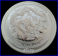 5oz 999 Silver Coin Year Of The Dragon 2012 QE II In Capsule Perth Mint
