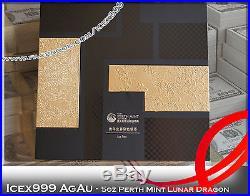5oz Australian Perth Mint 2012 Lunar Dragon Silver Coloured Coin in Framed
