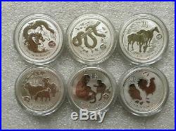 6 1 oz Silver Coins Australia Lion Privy Lunar Year of the Dragon Snake Horse ++