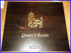 6 Queen's Beast 2oz Silver Lion, Griffin, Dragon, Unicorn, Bull, Falcon in wooden box