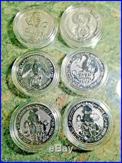 6 Set Queens Beast Silver Lion-Griffin-Dragon-Unicorn-Bull-Falcon Standard Cap
