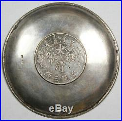 65 Gram Silver Candy Dish with China 1911 Silver Dragon $1 Coin XF Y#31 L&M#37