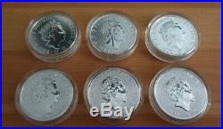 6x 2oz Queen's Beasts Silver Coin Set Lion Griffin Dragon Unicorn Bull Falcon