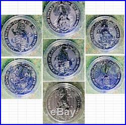 7 Set Queens Beast Silver Lion-Griffin-Dragon-Unicorn-Bull-Falcon-Yale Screw Cap