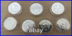 7 X 2ozs Queens Beast Silver Coin Uk (Dragon Has Toning, Two Capsules Damaged)