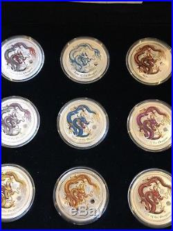 9 Coins Set Australian Lunar Colored Coin Series 2012 Year Of The Dragon Silver