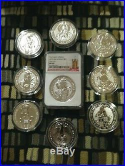 9 Queens Beast-Griffin-Dragon-Unicorn-Bull-Falcon-Yale-L-Horse-BU Caps+MS69 Lion