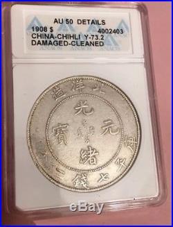 ANACS AU50 1908 China Dragon Dollar, AU-50 Details Silver $1 No Reserve Coin