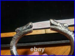 ANTIQUE c. 1870 DRAGON HEAD INGOT COIN SILVER BRACELET HEAVY GREAT DECORATION