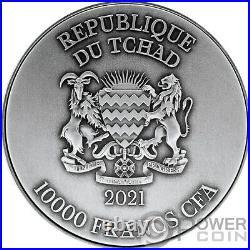 AO GUANG AZURE DRAGON 2 Oz Silver Coin 10000 Francs Chad 2021
