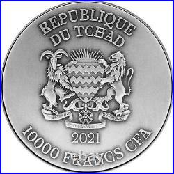AO SHUN Black Dragon 2 Oz Silver 80mm Coin 10000 Francs Chad 2021