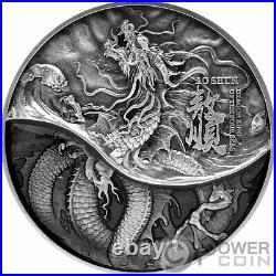 AO SHUN Black Dragon 2 Oz Silver Coin 10000 Francs Chad 2021