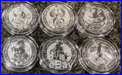 All (6) 2 Oz Queens Beasts Silver Coins Lot Lion Griffin Bull Dragon 999.9 Fine