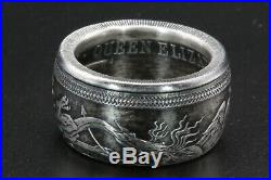 Angel and Serpent Dragon Archangel Micheal coin ring Pure Silver Size 8-14