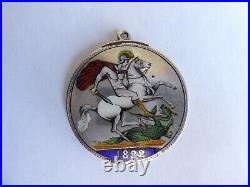 Antique George IV 1822 Enamelled Full Crown Coin Fob Pendant St George & Dragon