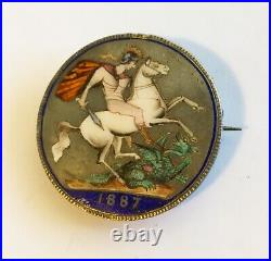 Antique Victorian Silver Enamel Pin, St. George Slaying The Dragon On A Coin