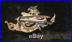 Antique victorian coin silver gold griffin dragon brooch lapis garnet