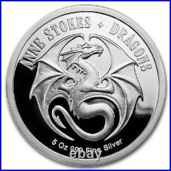 Apmex 5 oz Silver Colorized Round Anne Stokes Dragons Friend or Foe With COA