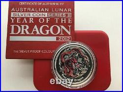 Australia 1 dollar Year of the Dragon Lunar Series II Coloured coin 2012 year