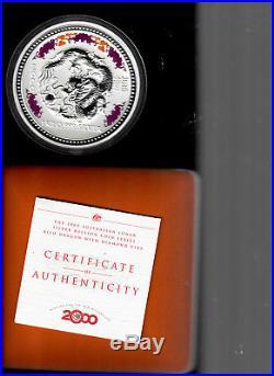 Australia 2000 Dragon with Diamond Eyes 30 dollars 1 Kilo. 999 silver