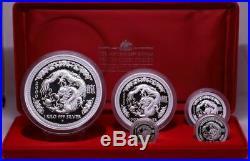 Australia 2000 Silver Lunar 5 Coin Proof Set Perth Mint Series I Dragon