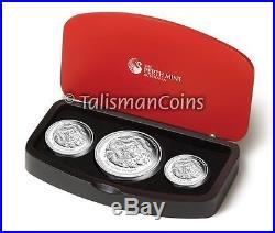 Australia 2012 Year Dragon Chinese Lunar Zodiac 3 Coin $1 Pure Silver Proof Set
