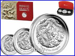 Australia 2012 Year Dragon Lunar 3 Coin Silver PROOF SET
