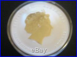 Australia 2012 Year Of The Dragon GILDED Silver $1 1 Oz. Coin COA and BOX