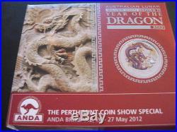 Australia 2012 Year Of The Dragon PURPLE Silver $1 1 Oz. Coin COA and BOX