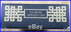 Australia 2018 $2 Figure Eight Shape Dragon 2oz Silver Antiqued Coin