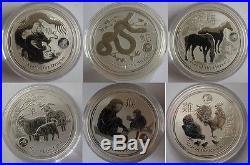 Australia-6x1oz Silver Lunar Lion Privy Coin-Dragon+Snake+Horse+Goat+Monkey+Goat