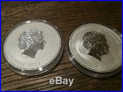 Australia Lunar Series II silver coin dragon 5 oz coloured + 5 oz BU set 2012