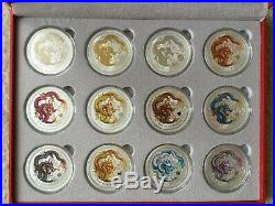 Australia Lunar Year of the Dragon Collection 12 1 oz Silver Coins Colorized UNC