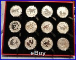Australia Year of Mouse, Tigar, Dragon, Pig Set of 12 Lunar Silver Coins 1oz