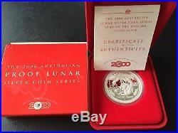 Australian 2000 $1 Lunar Series I Year Of The DRAGON 1oz Silver Proof Coin