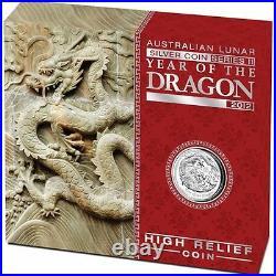 Australian 2012 Lunar Silver Coin Series II Year of the Dragon High Relief 1oz