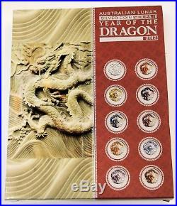 Australian Lunar Series II 2012 Year of the Dragon 1oz Silver Ten-Coin Set