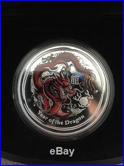 Australian Lunar Silver Coin Series II 2012 Year of the Dragon Coloured Edition